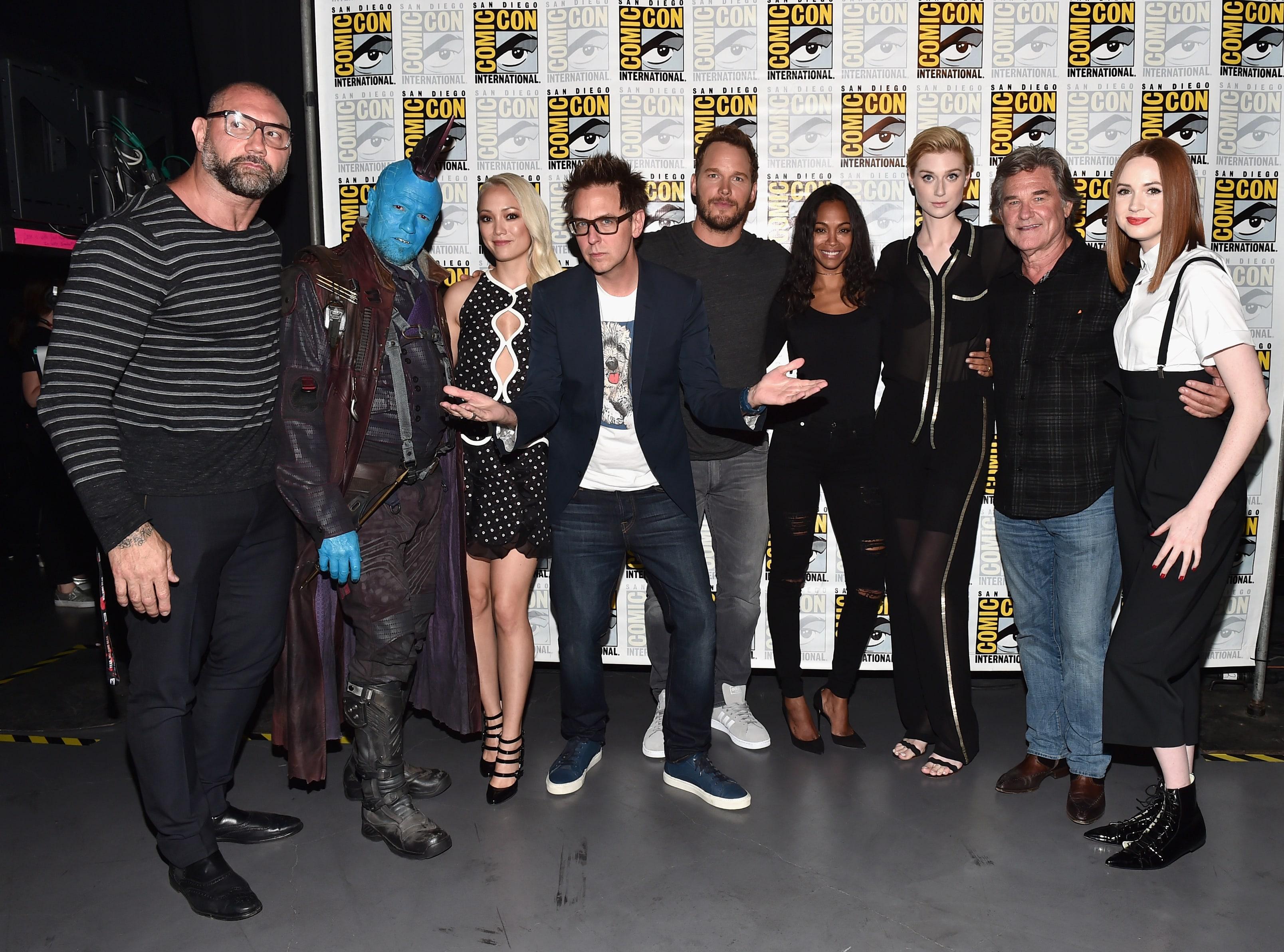 Джеймс Ганн и актеры из фильма «Стражи Галактики. Часть 2» на фестивале San Diego Comic-Con International