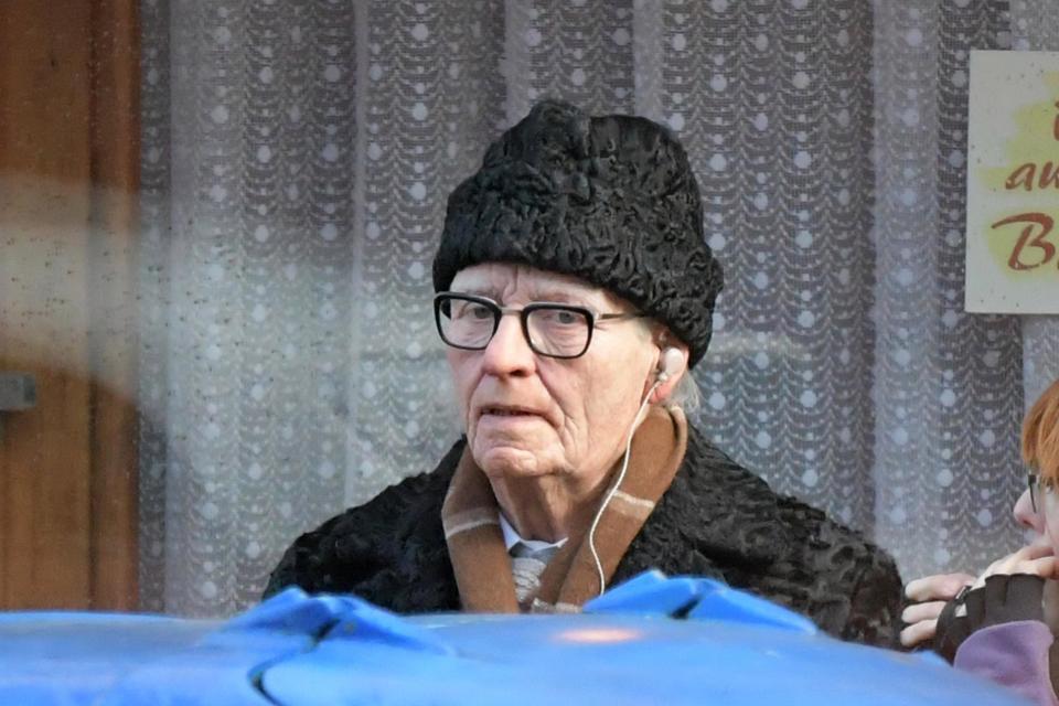 Тильда Суинтон в гриме на съёмках фильма «Суспирия»